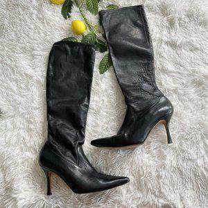 REPAIR Manolo Blahnik Black Leather Knee High boot